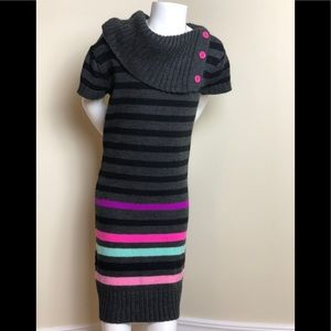 Girls Knit Dress with Stripes and buttons